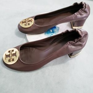 Tory Burch Brown Gold Amy Heels Pumps Leather 7.5
